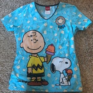 Peanuts scrub top
